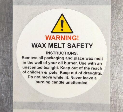 Wax Melt Safety Label