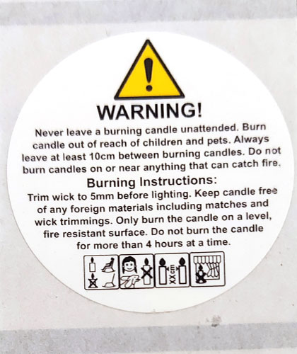 Candle Safety Label
